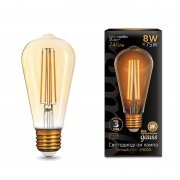Black Filament ST64 8Вт 2400К E27 Golden Gauss 157802008 GAUSS(группа VARTON)